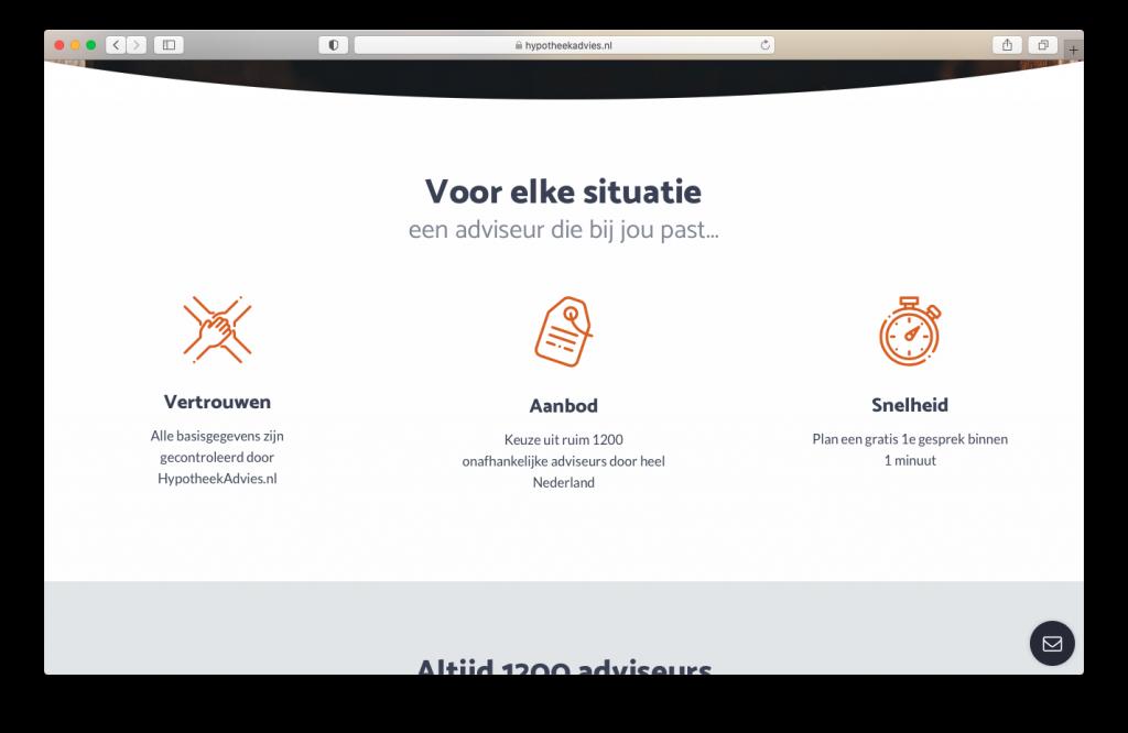 Homepage voorbeeld: Hypotheekadvies.nl
