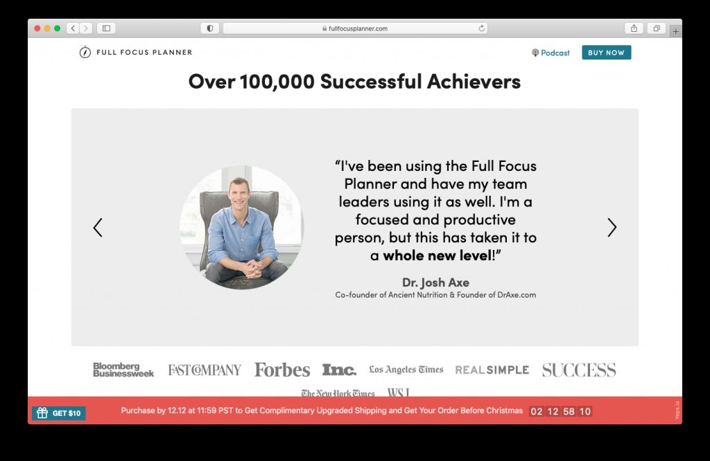 Website voorbeeld: Full focus planner